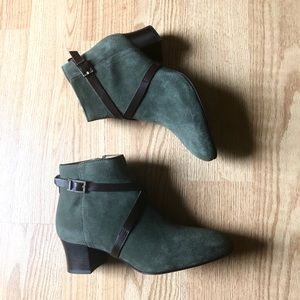 Aquatalia Booties Suede green brown sz:7.5 new
